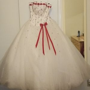 Red and white formal gown